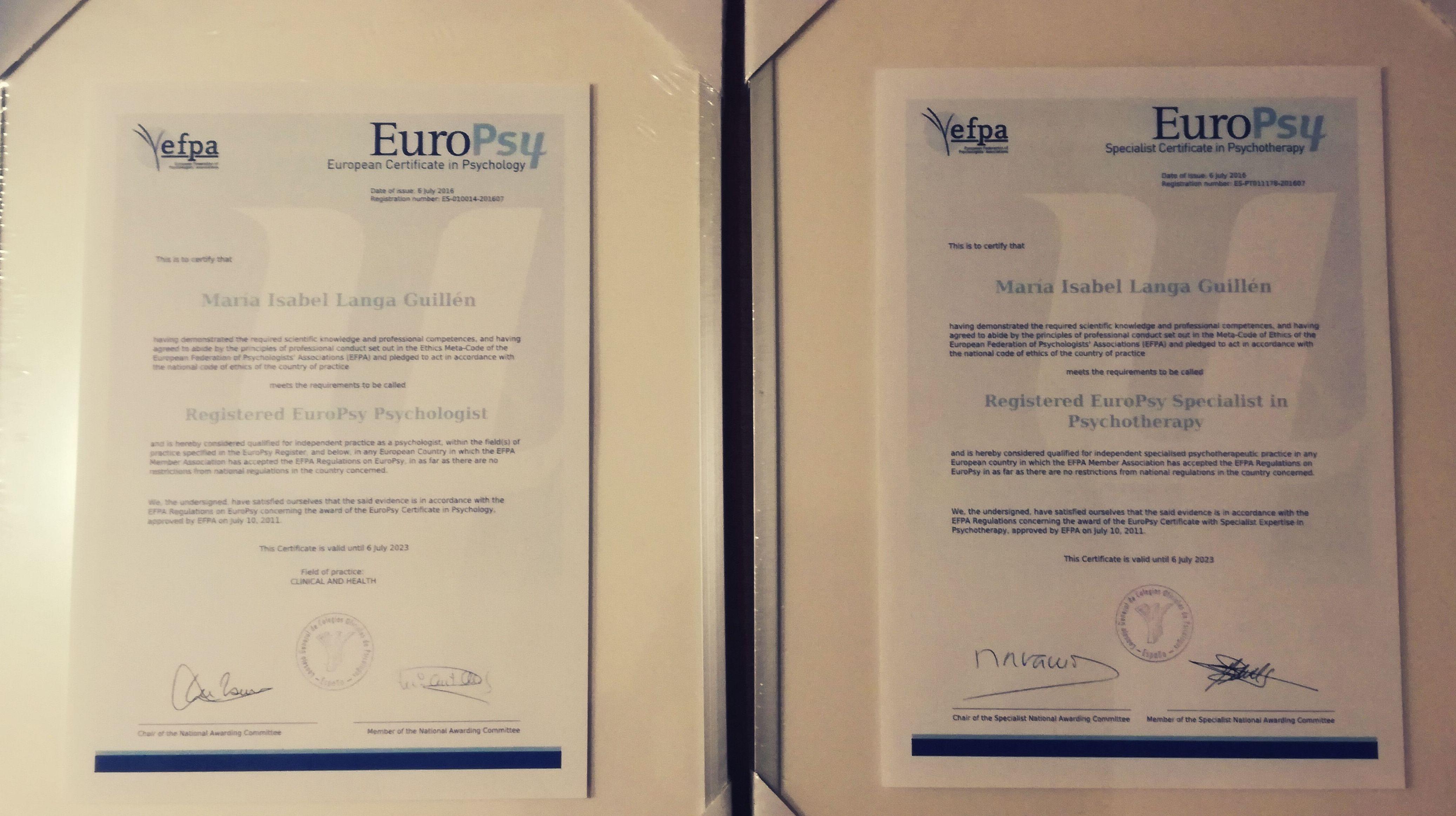 Certificado Europeo de Especialista en Psicoterapia y Certificado Europeo en Psicología