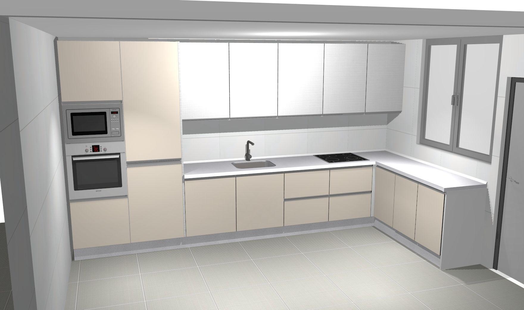 Diseño por ordenador cocina Gola Blanca Beig