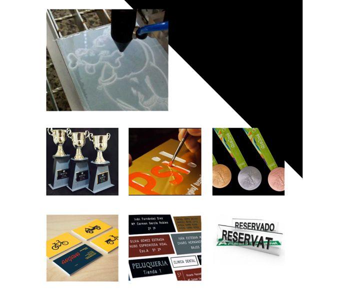 Grabados decorativos, pintados, trofeos para eventos
