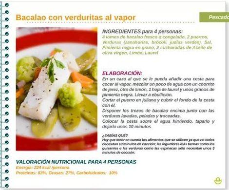 Bacalo con  verduras al vapor
