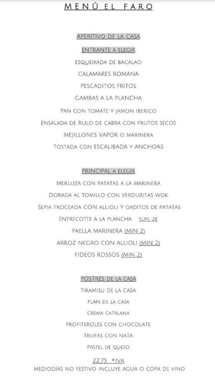 Menú El Faro: Carta de Restaurante El Faro