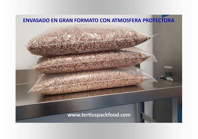 Envasado gran formato  con atmósfera protectora (MAP)  de alimentos en polvo y grano