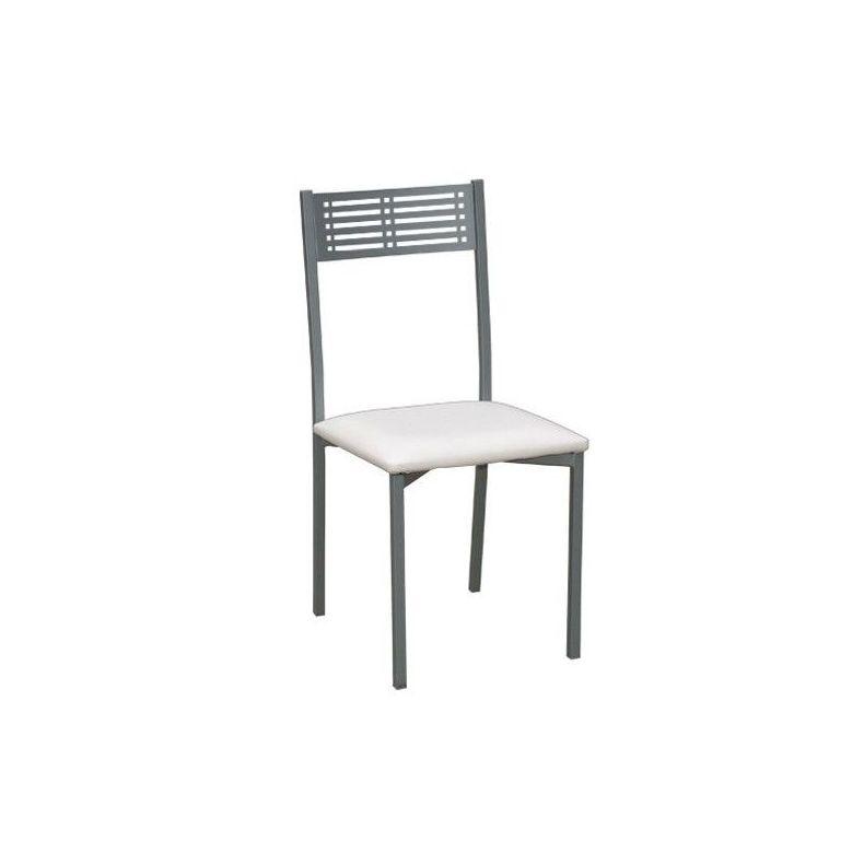 Silla Estoril blanco con estructura fija en niquel mate con asiento acolchado