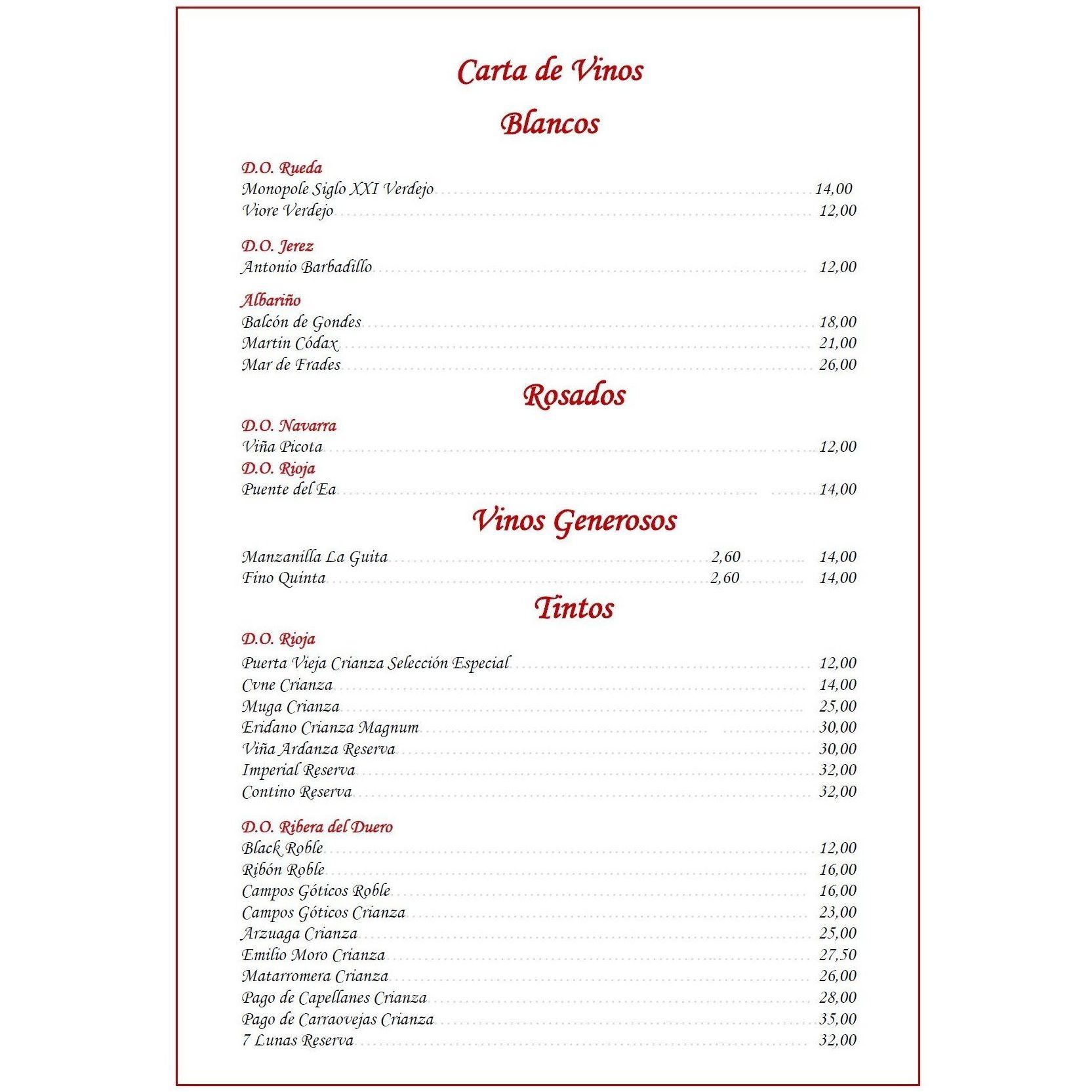 Carta de vinos: Carta de Restaurante La Zaguina