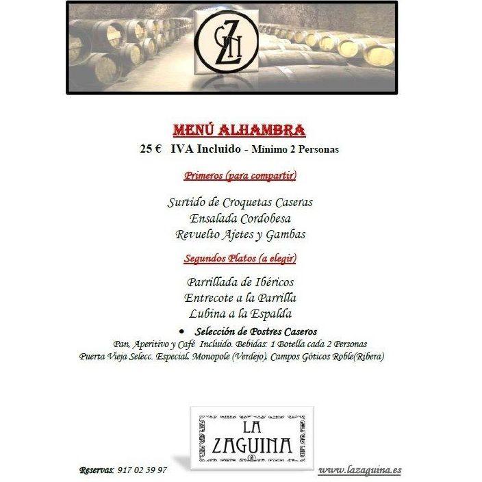 Menús para cenas: Carta de Restaurante La Zaguina