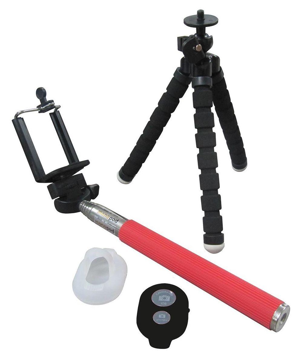Pack Selfie, brazo extensible 1.08 m, mando bluetooth, funda transparente y trípode