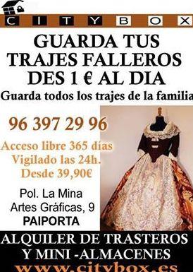 Guardar trajes falleros por 1 euro al dia en Valencia, alquiler de trasteros Valencia