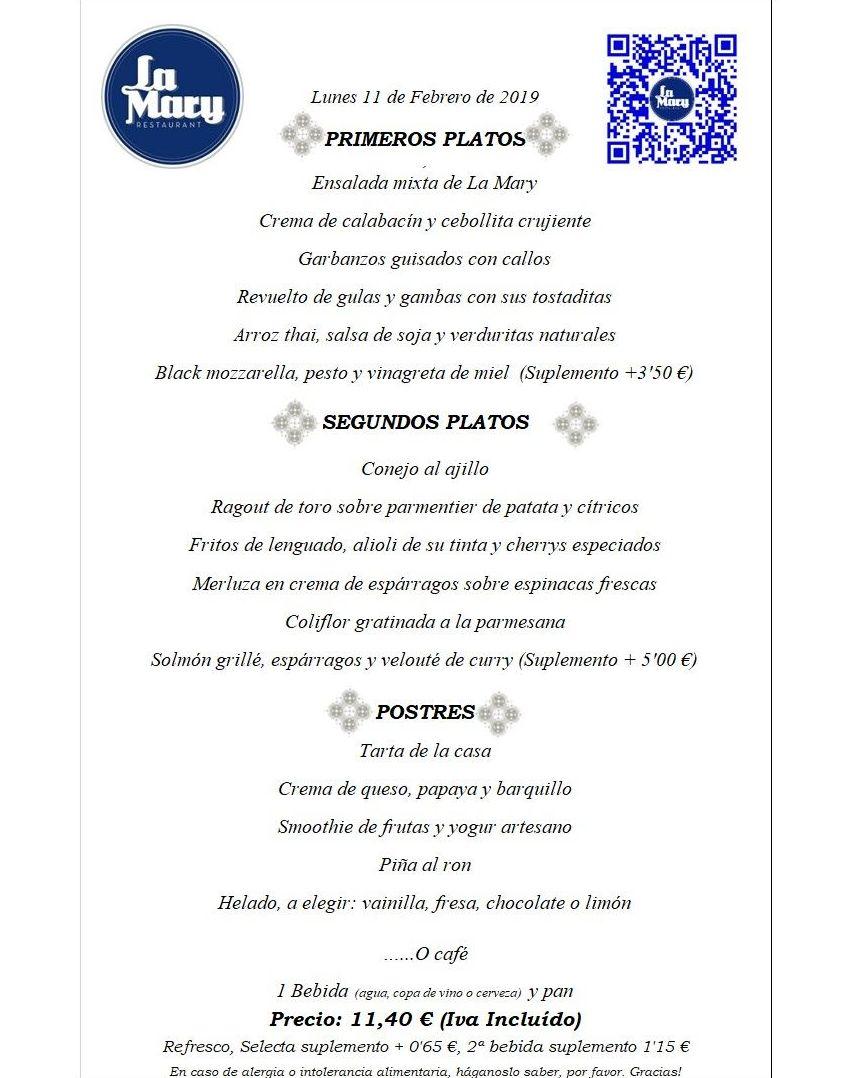 Menú del dia de Restaurante La Mary
