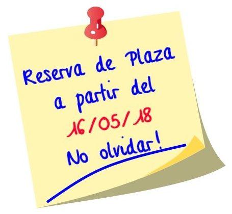 Reserva de Plaza Curso 2018/2019