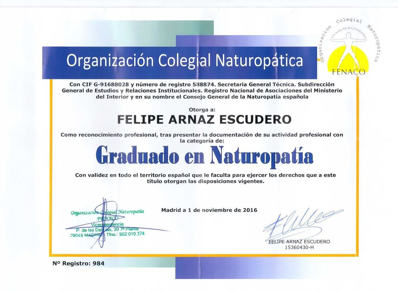 Graduado en Naturopatia