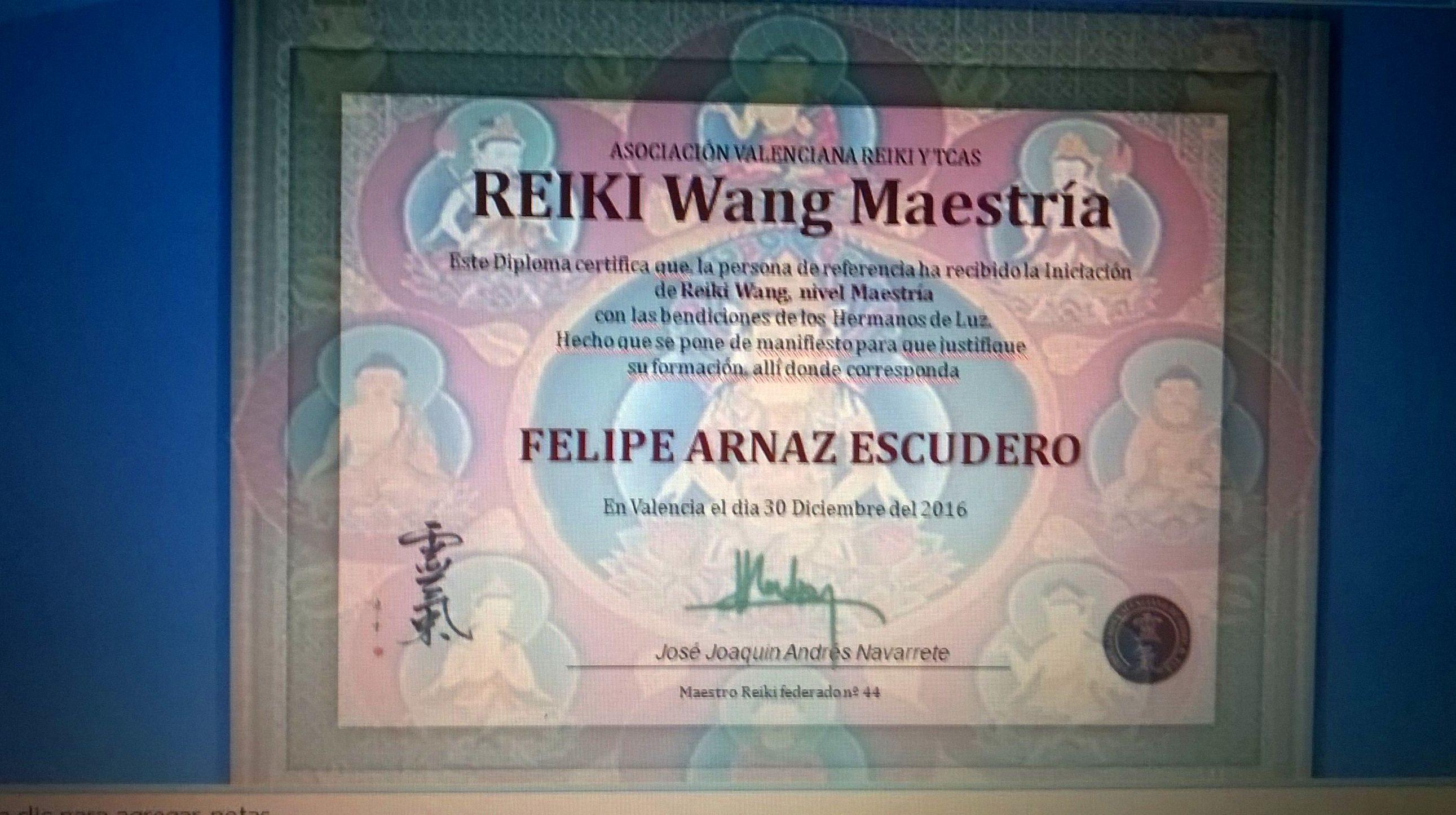 Diploma: Reiki Wang Maestria