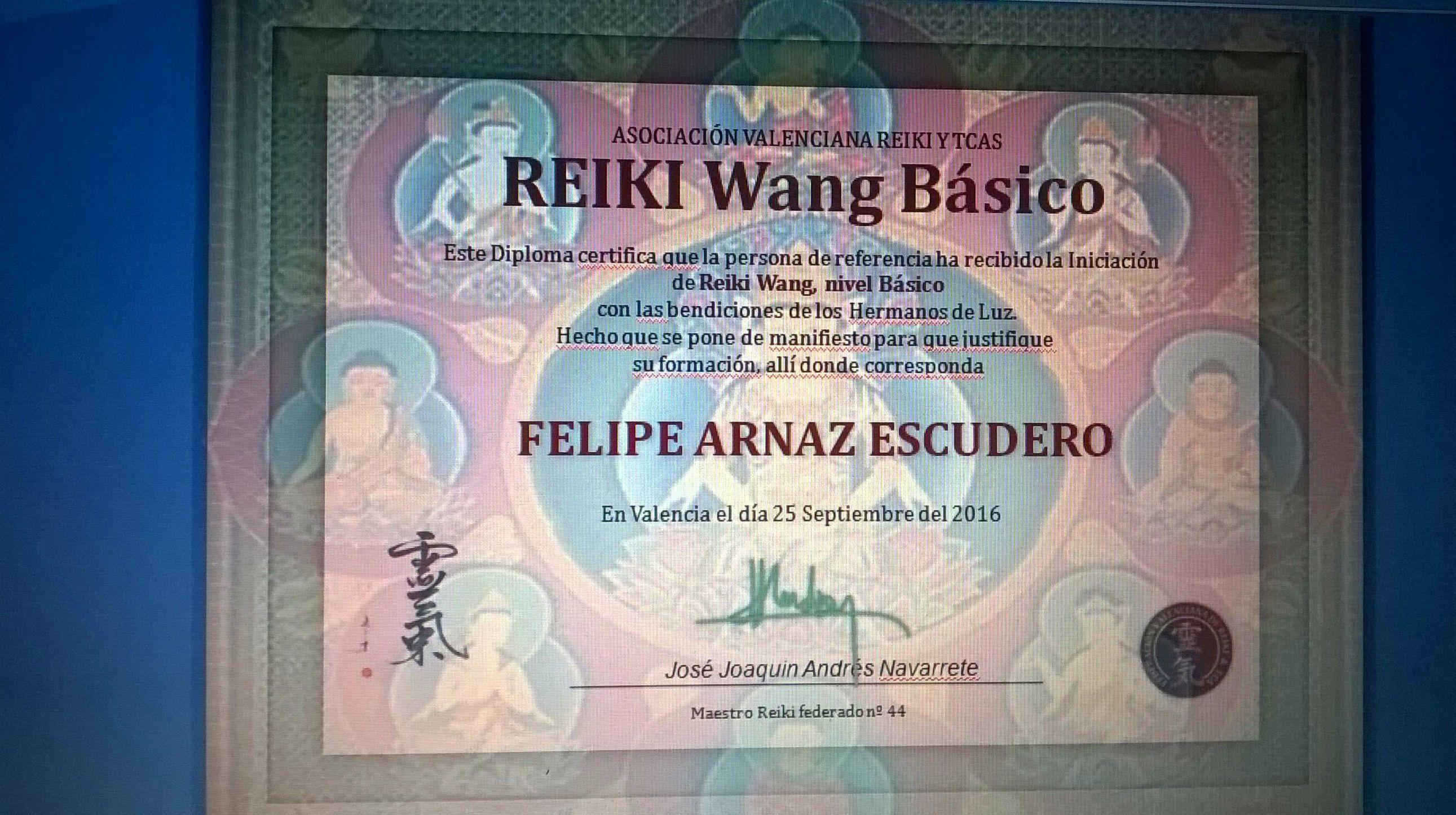 Diploma: Reiki Wang Basico