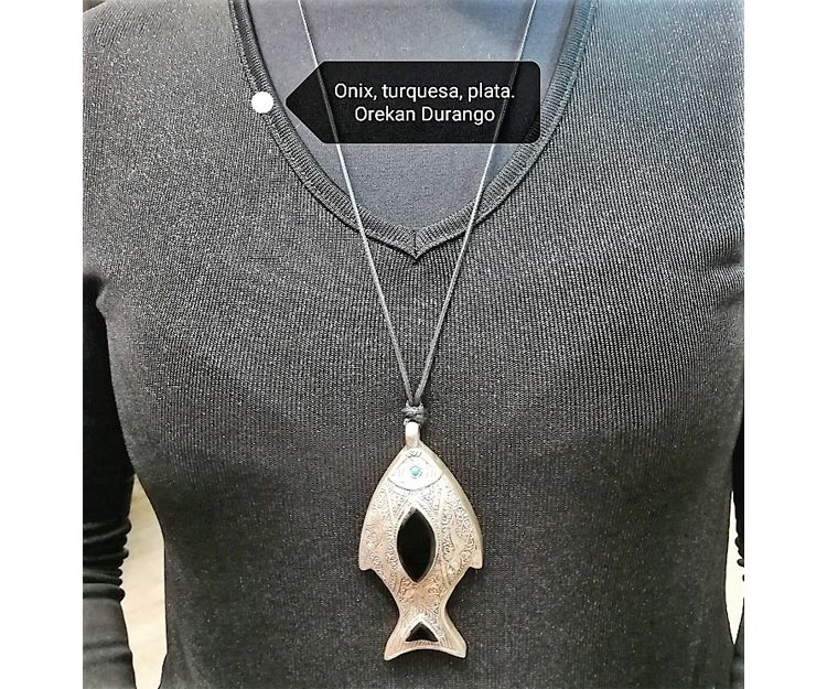 Colgante y collar de onix, turquesa y plata en Durango