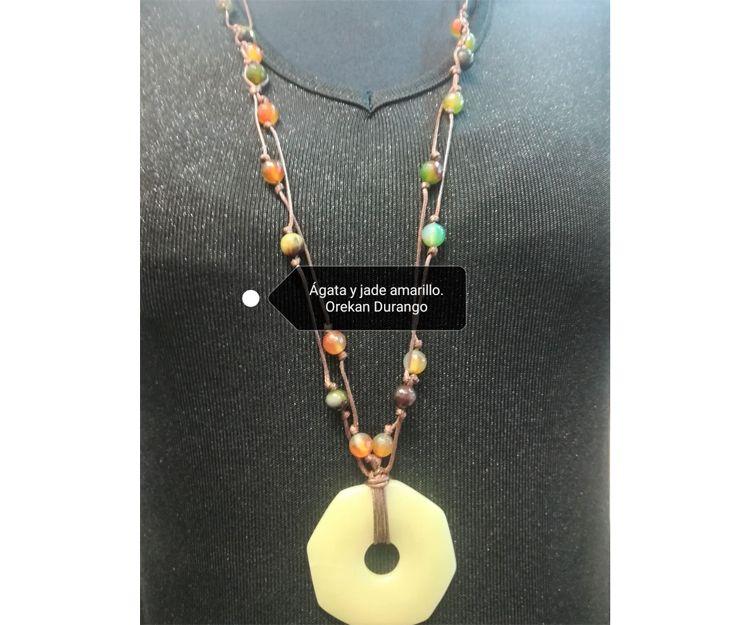 Colgante y collar de ágata y jade amarillo en Durango