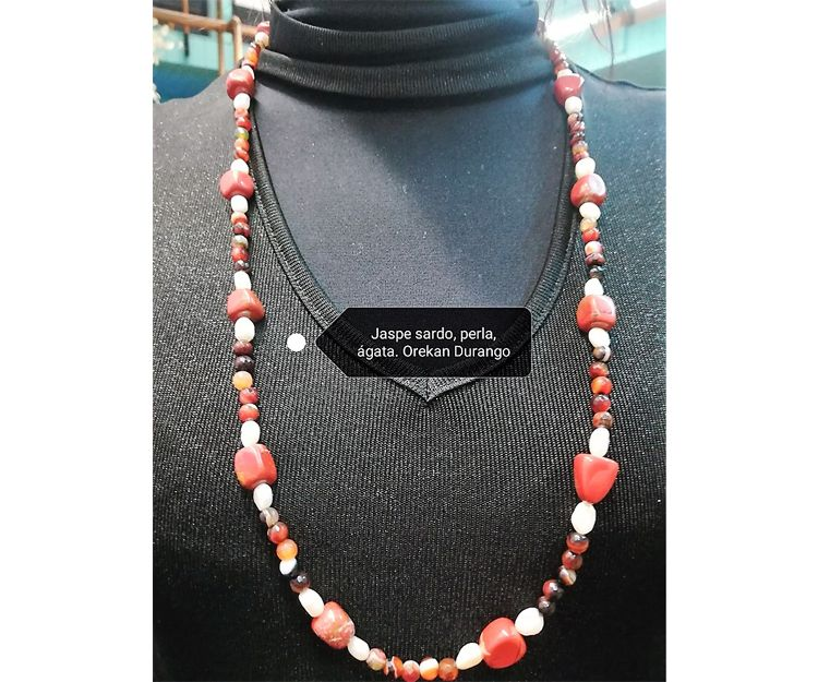 Collar de jaspe sardo, perla y ágata en Durango
