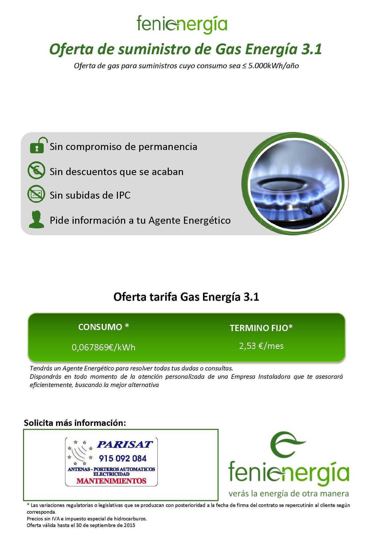 Oferta de Suministro de Gas Energía 3.1 hasta 31-09-15