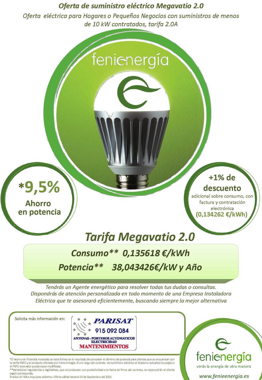 Tarifa Megavatio 2.0 hasta el 30-09-2015