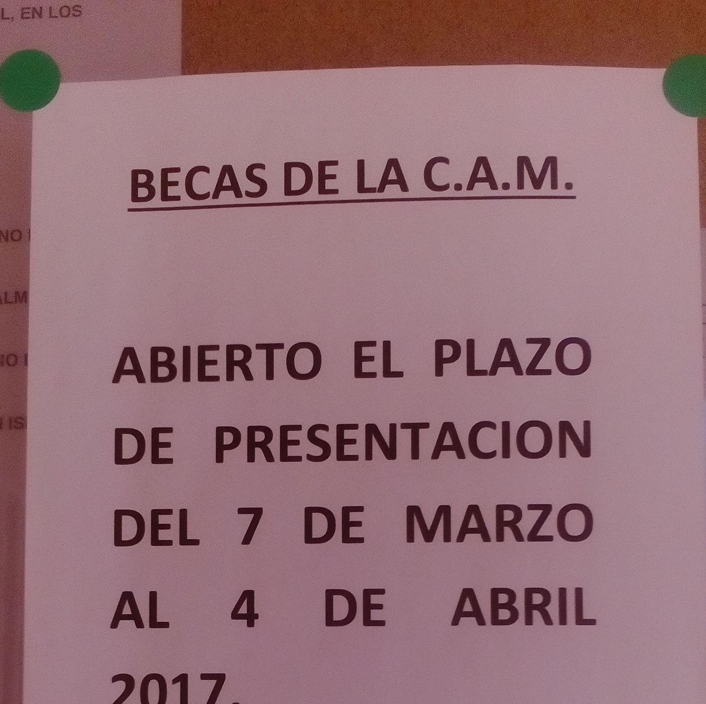Abierto el plazo de presentación del 7 de marzo al 4 de abril 2017 - Becas de la C.A.M.