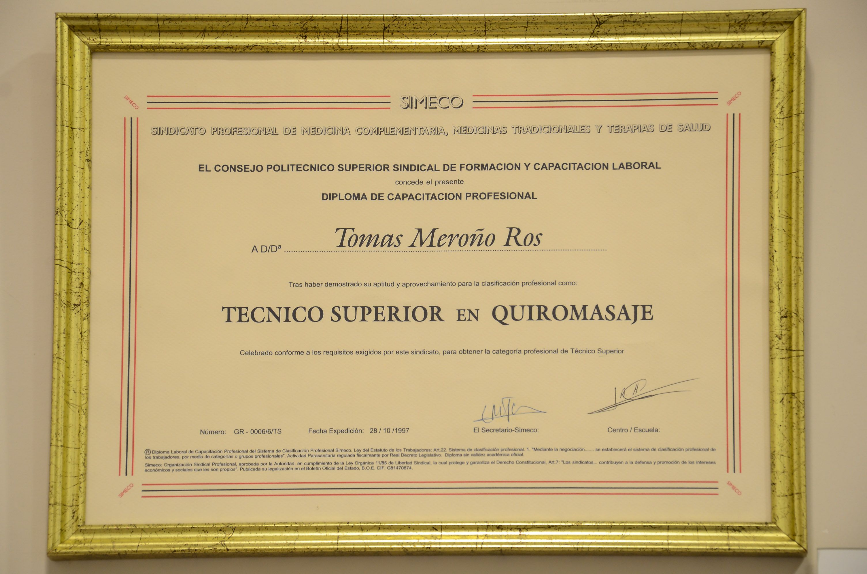 Diploma quiromasaje Tomás Acupuntura Energy