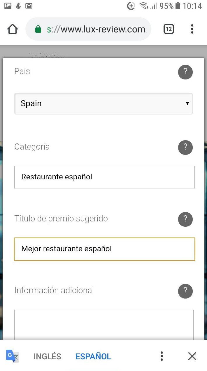 Captura formulario de votación Lux Review Mejor restaurante español 2019