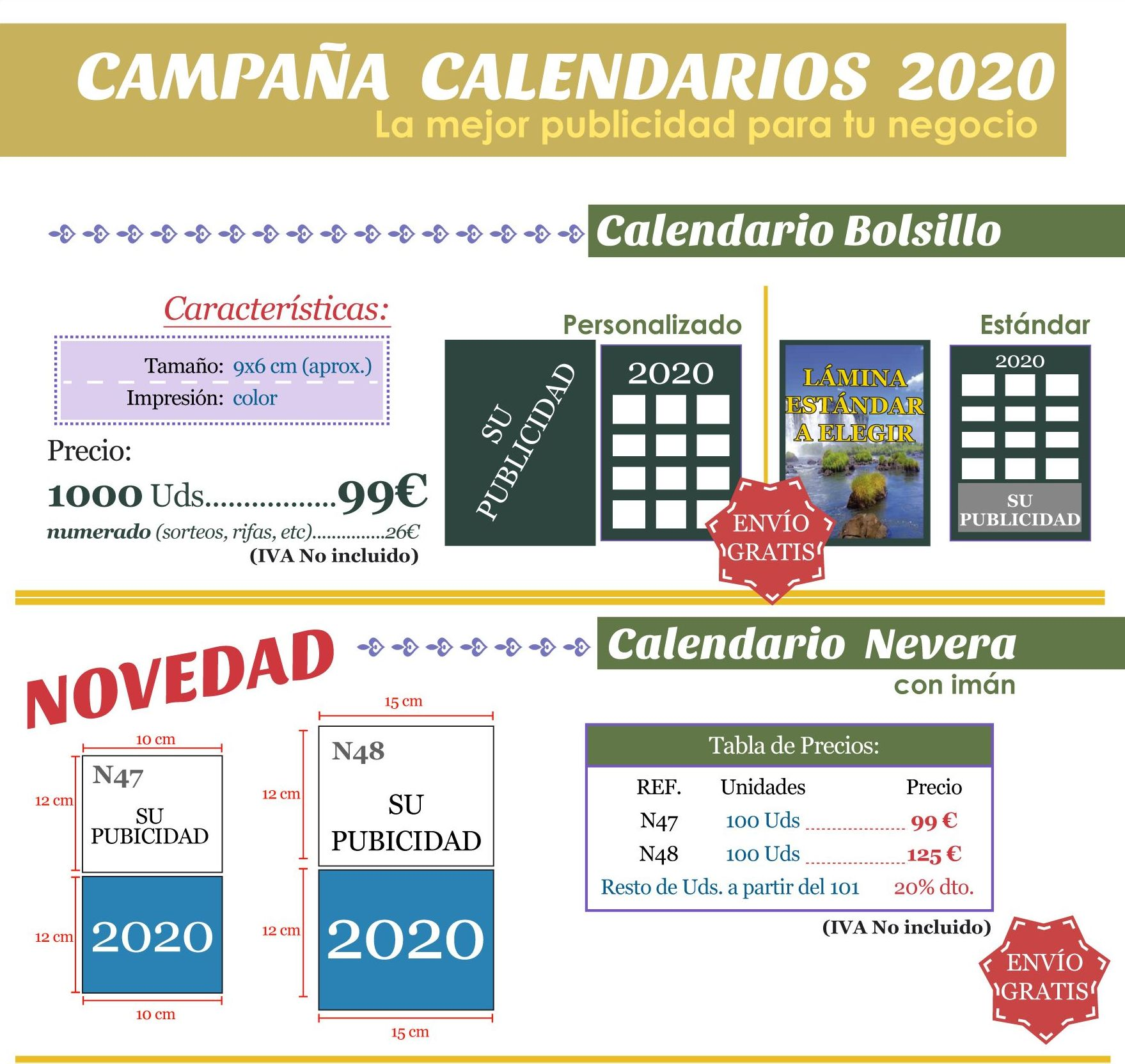 CAMPAÑA DE CALENDARIOS 2020: Productos de Impresos Levante
