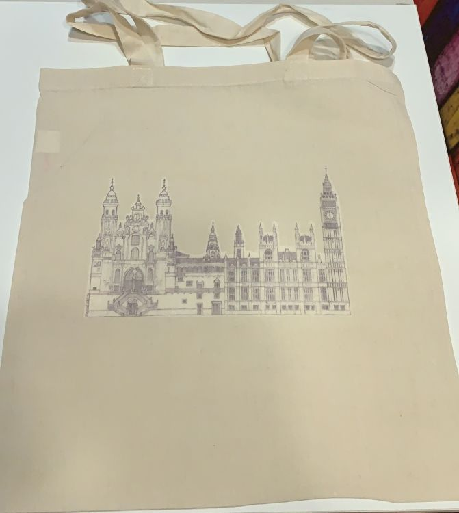 Impresión de bolsa de tela con vinilo transparente