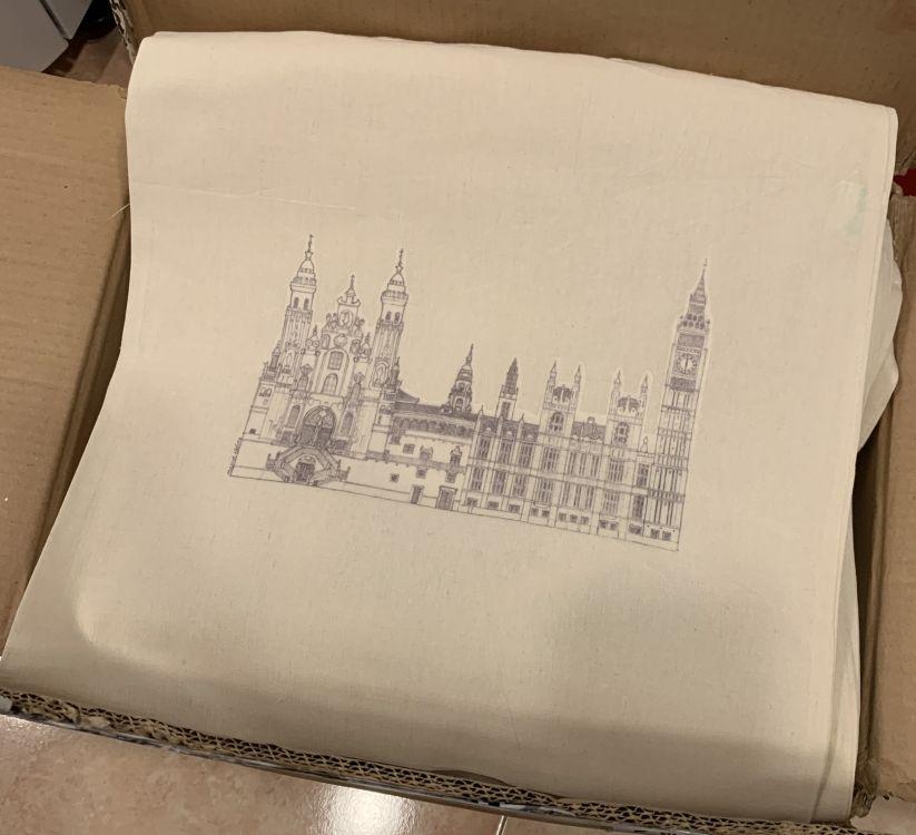 Bolsa de tela con vinilo transparente impreso