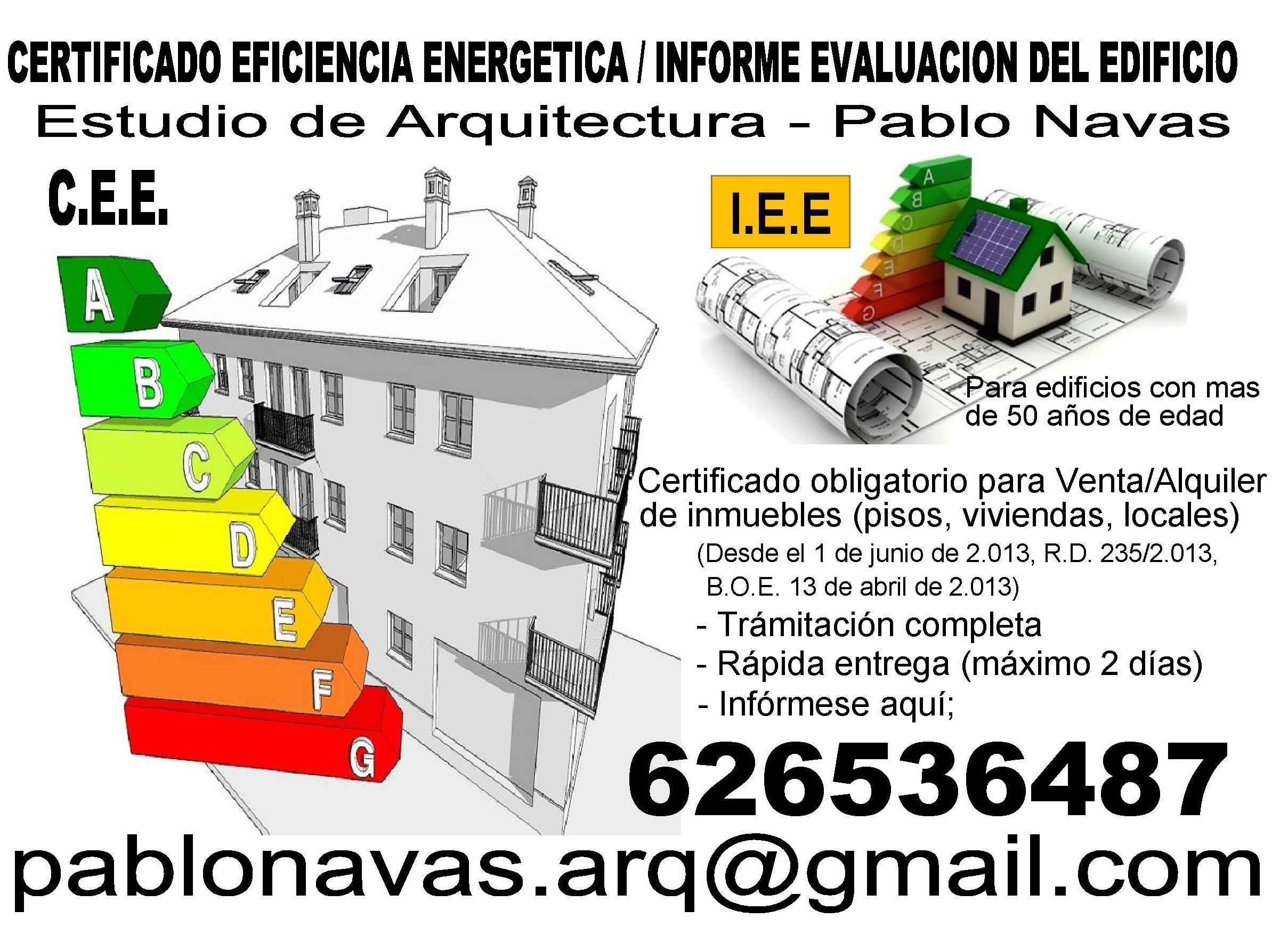 Certificado energético: Servicios de Estudio de Arquitectura Pablo Navas