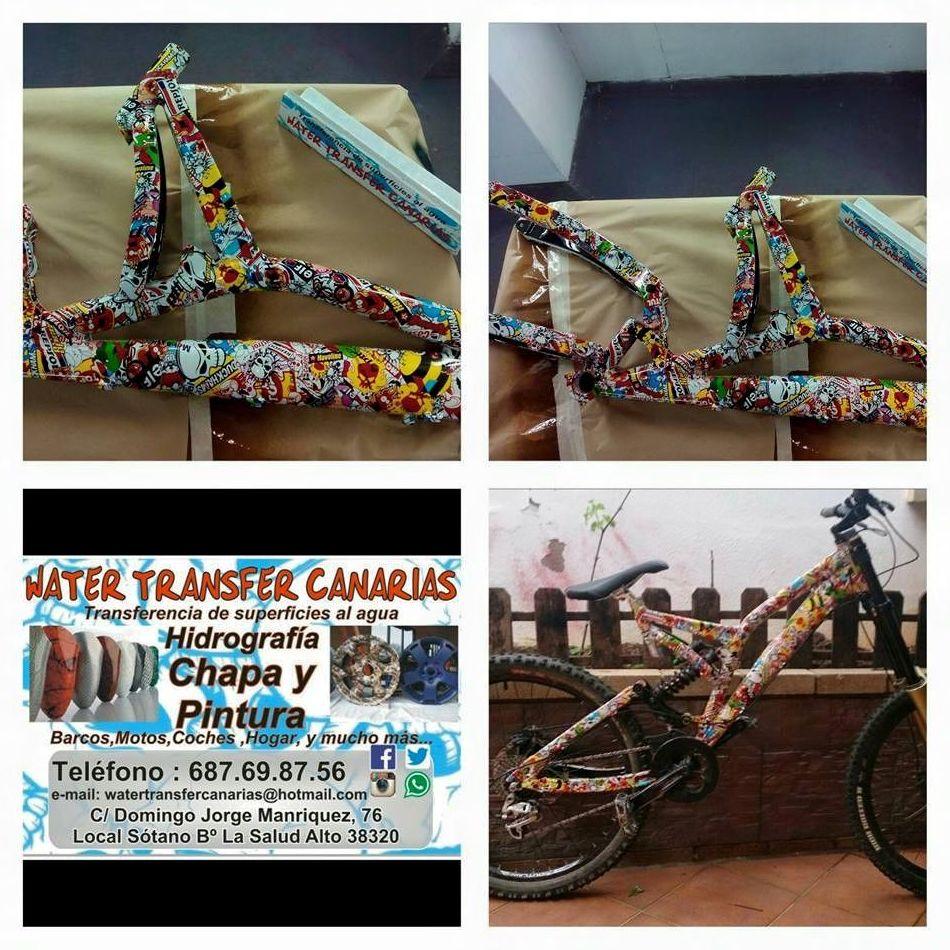 Personalización de bicicletas mediante water transfer en Tenerife