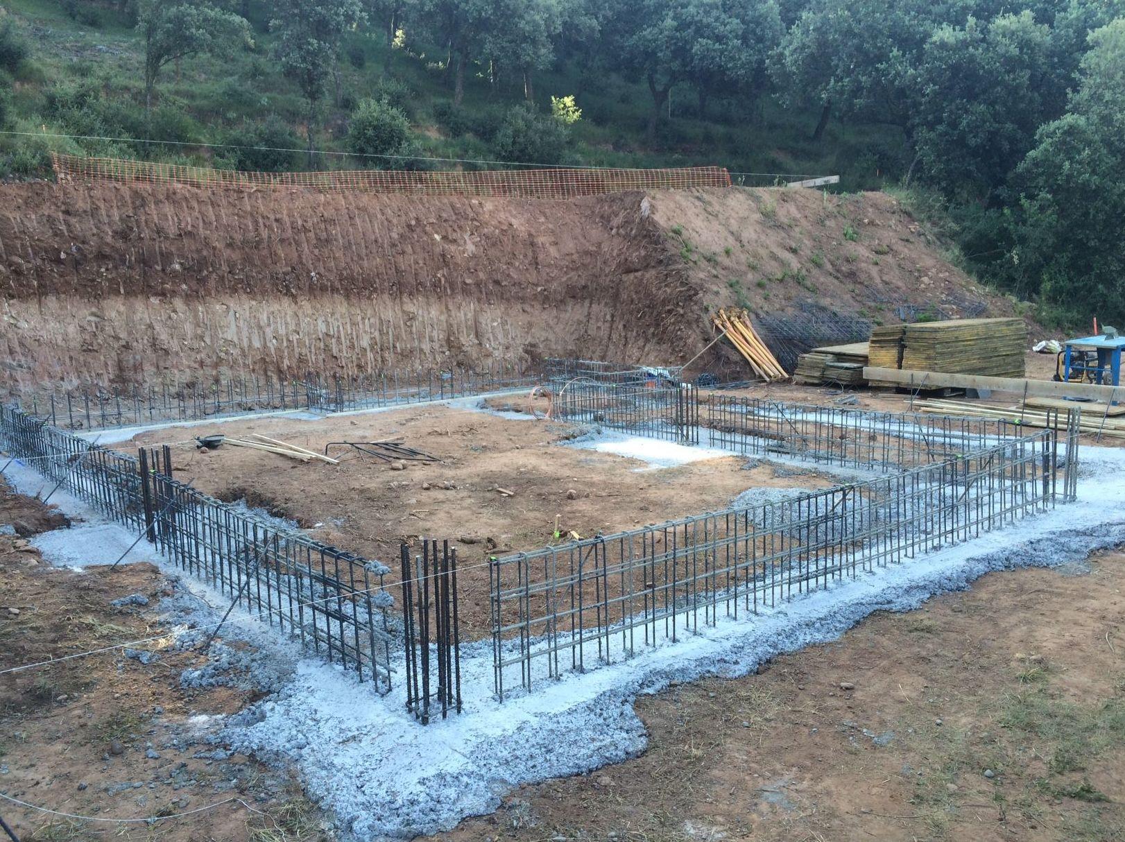 Vista cimentación obra unifamilar Hornos de Moncalvillo