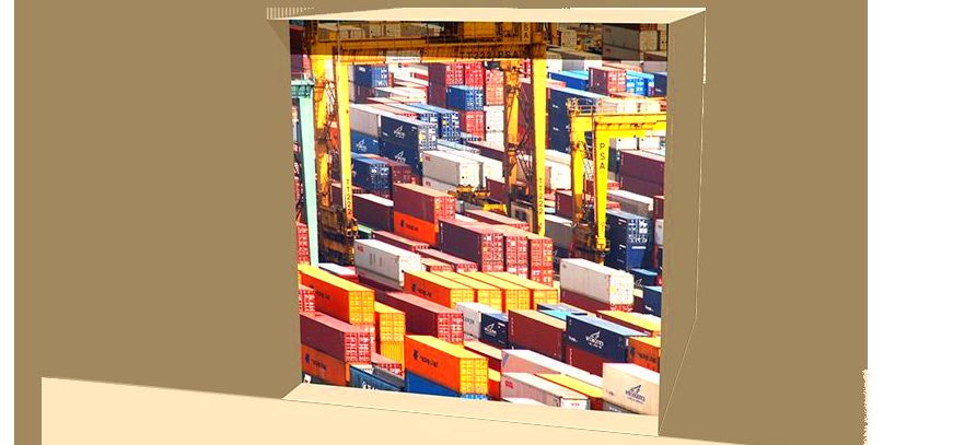 carga y descarga de contenedores Barcelona-Apoli Stock