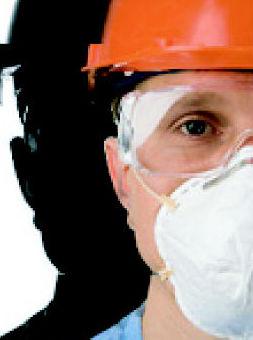 Protección respiratoria para la prevención de inhalación de fibras de amianto.