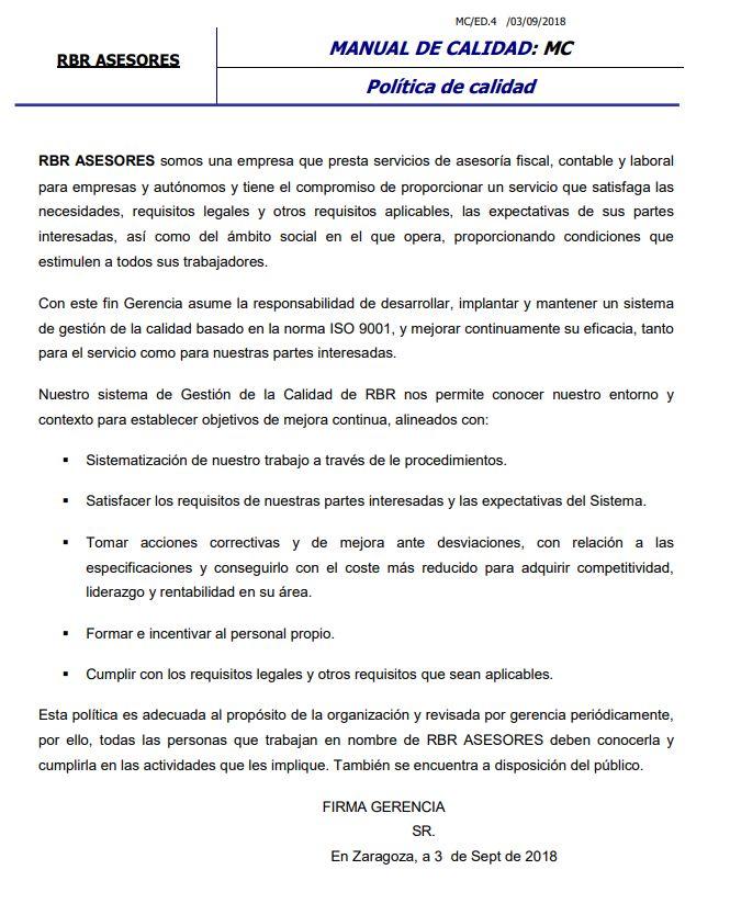 Política de calidad: Catálogo de RBR Asesores