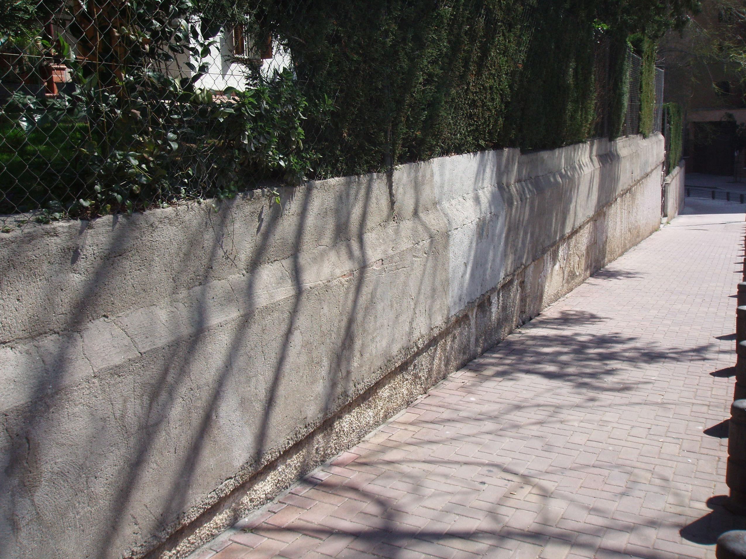 Rehabilitación muro cerramiento. Estado anterior