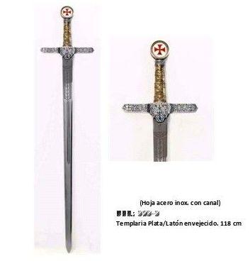 Espada Templaria en Plata y Latón: Productos  de Aceros de Toletvm
