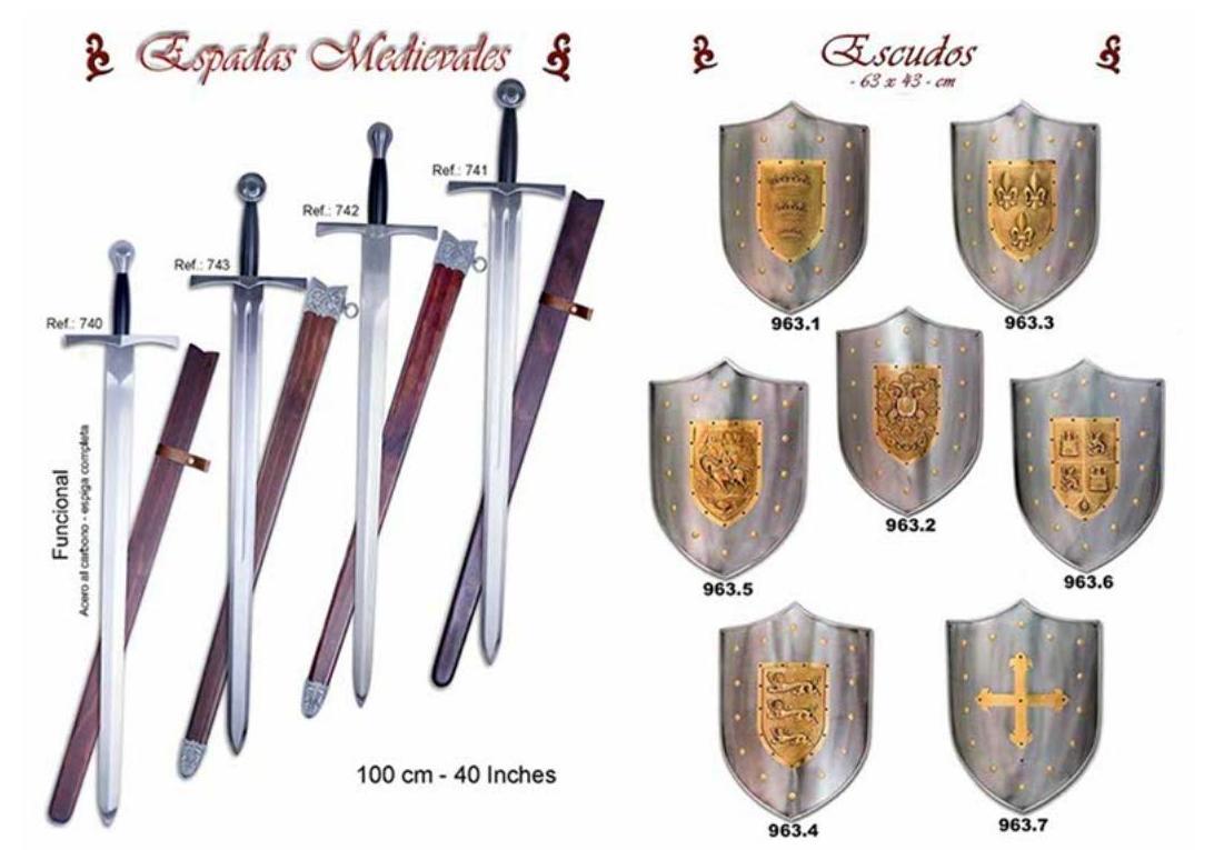 Escudos y espadas medievales: Productos  de Aceros de Toletvm
