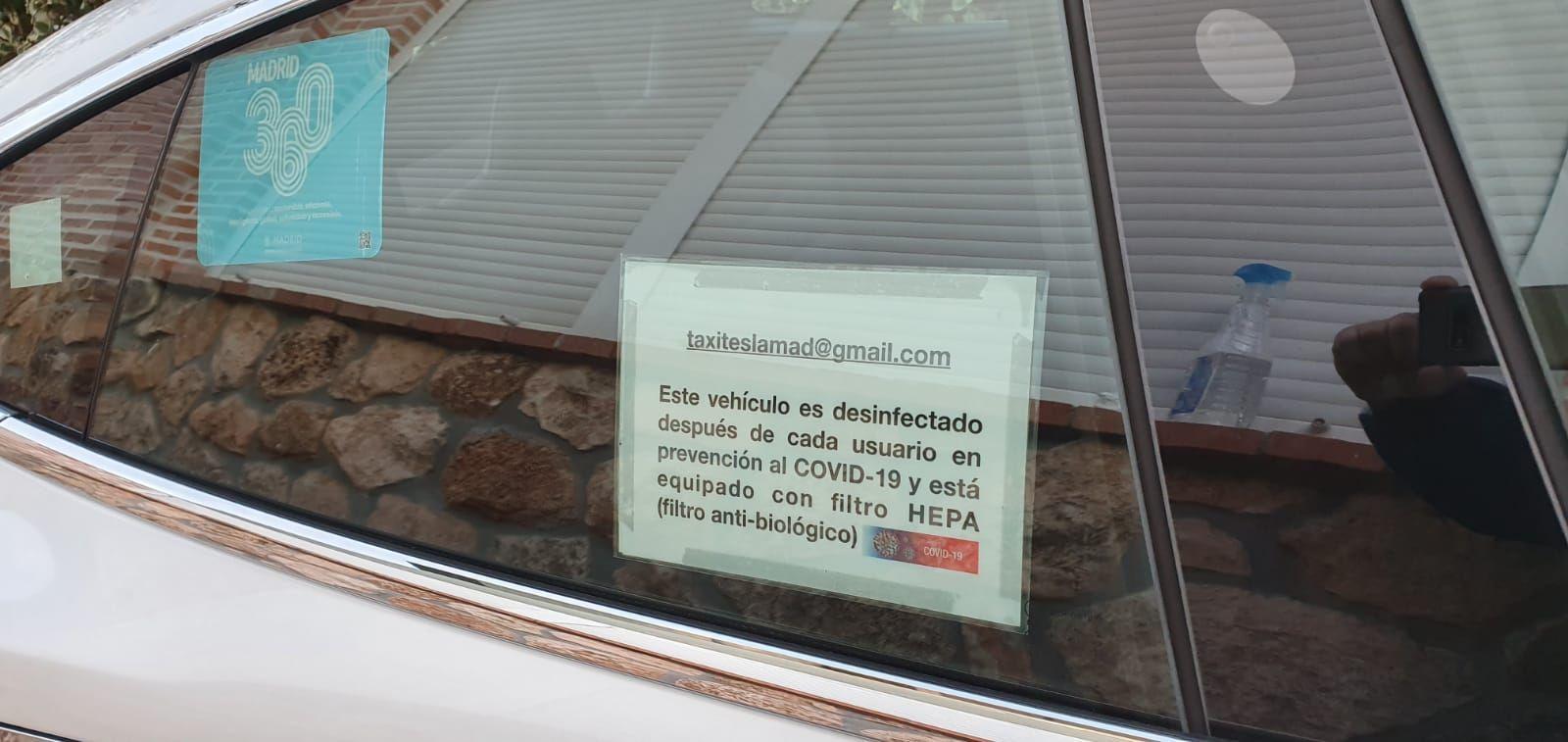 En Taxi Tesla Los Peñascales tomamos medidas contra el CORONAVIRUS desinfectando el vehículo después de cada usuario