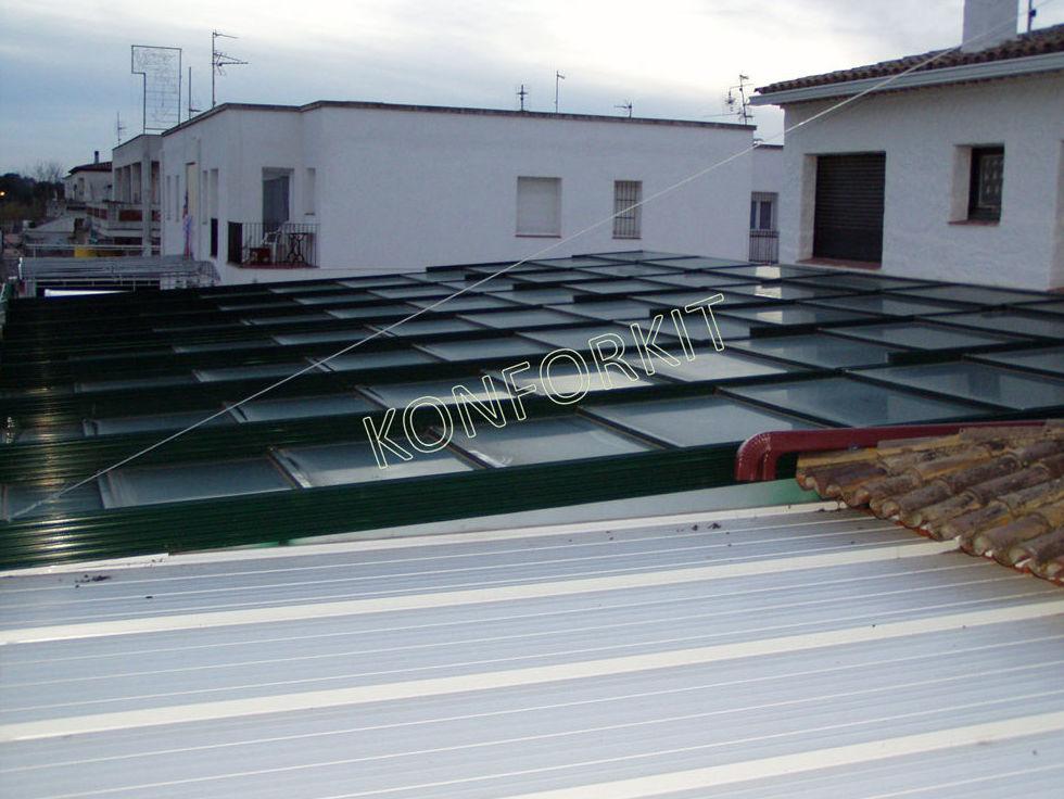 Cerramiento de terrazas con techos móviles