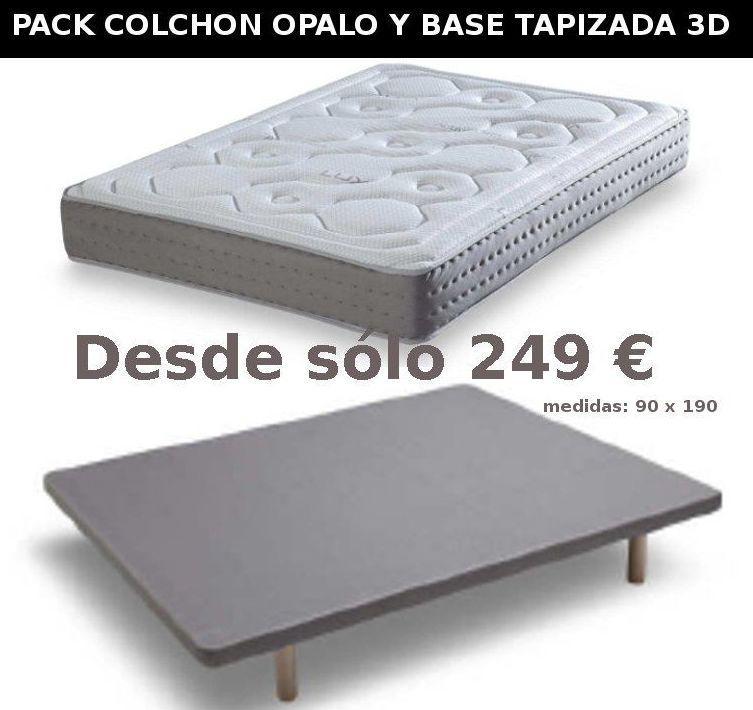 EV Colchonería: pack colchón Opalo y base tapizada 3D desde sólo 249 €