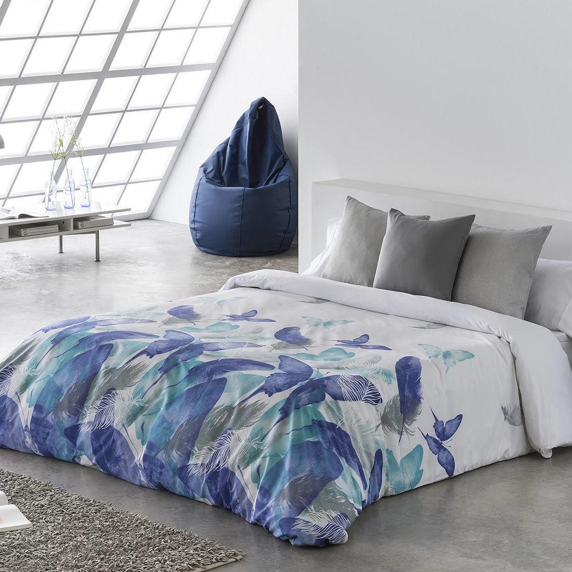 EV colchonería: juego funda nórdica 4 piezas Sira azul de Barbadella cama 150 rebajada a 65 €