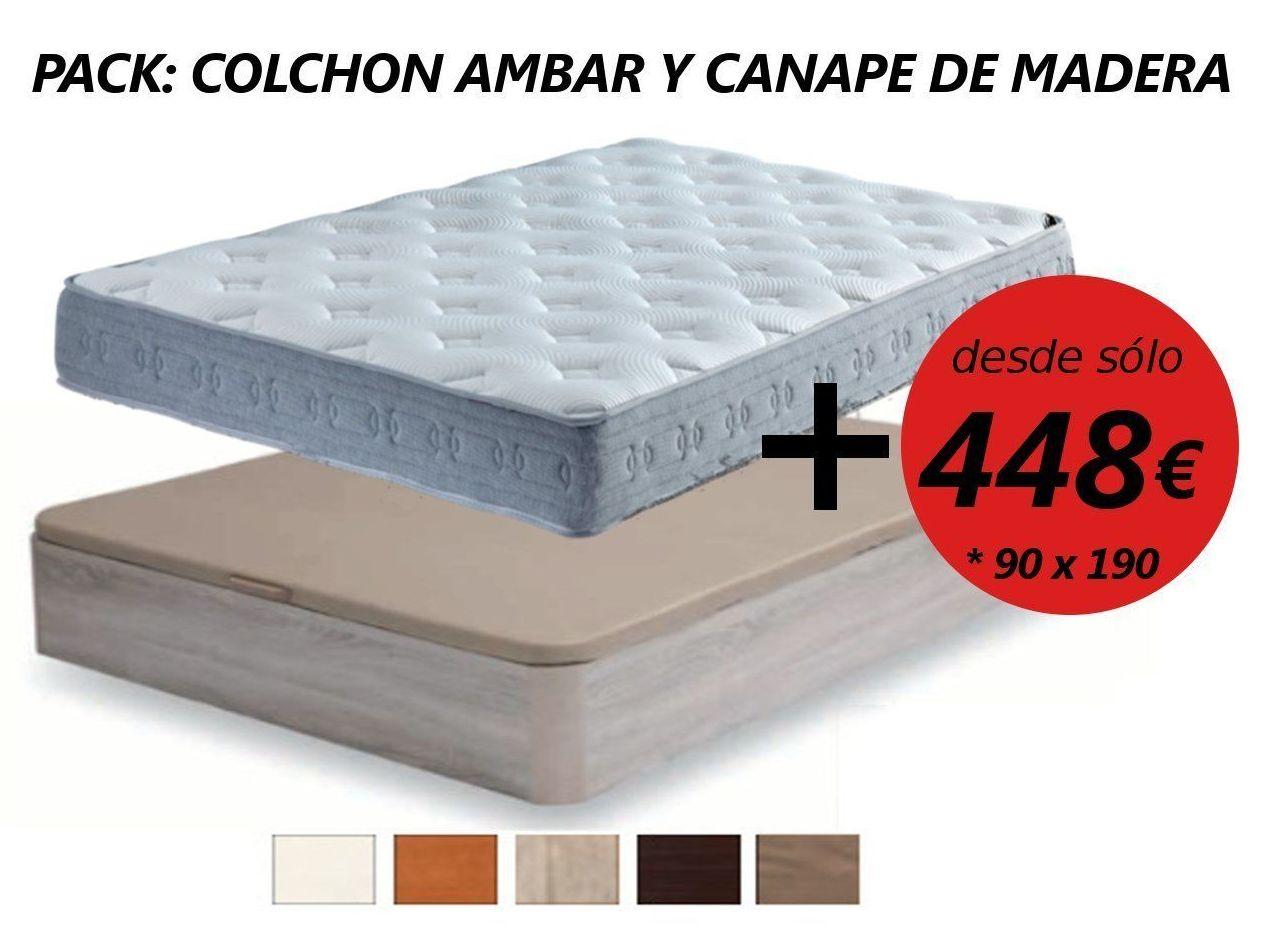 EV Colchonería: Pack colchón Ambar y canapé de madera desde 448 €