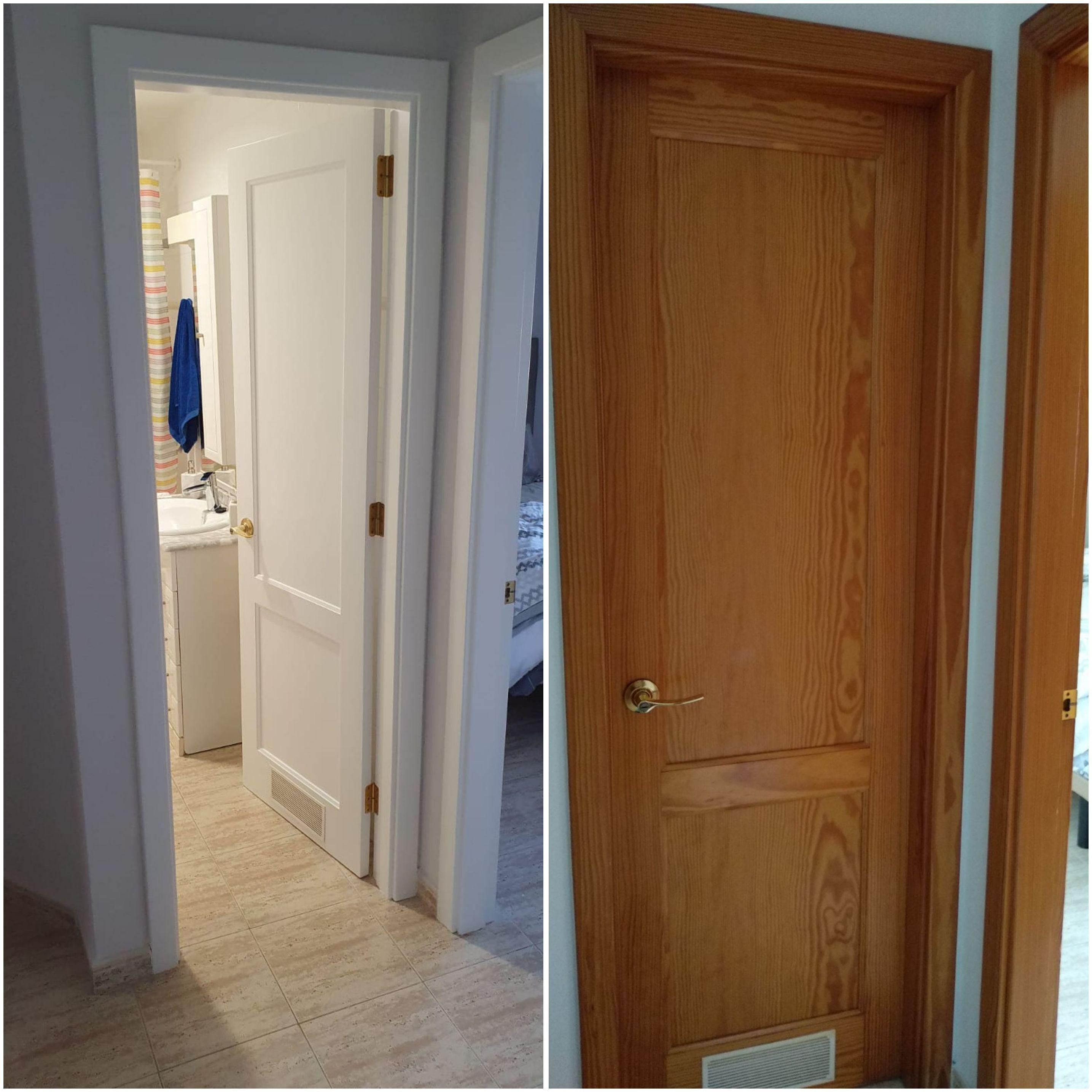 Puerta de baño lacada en color blanco