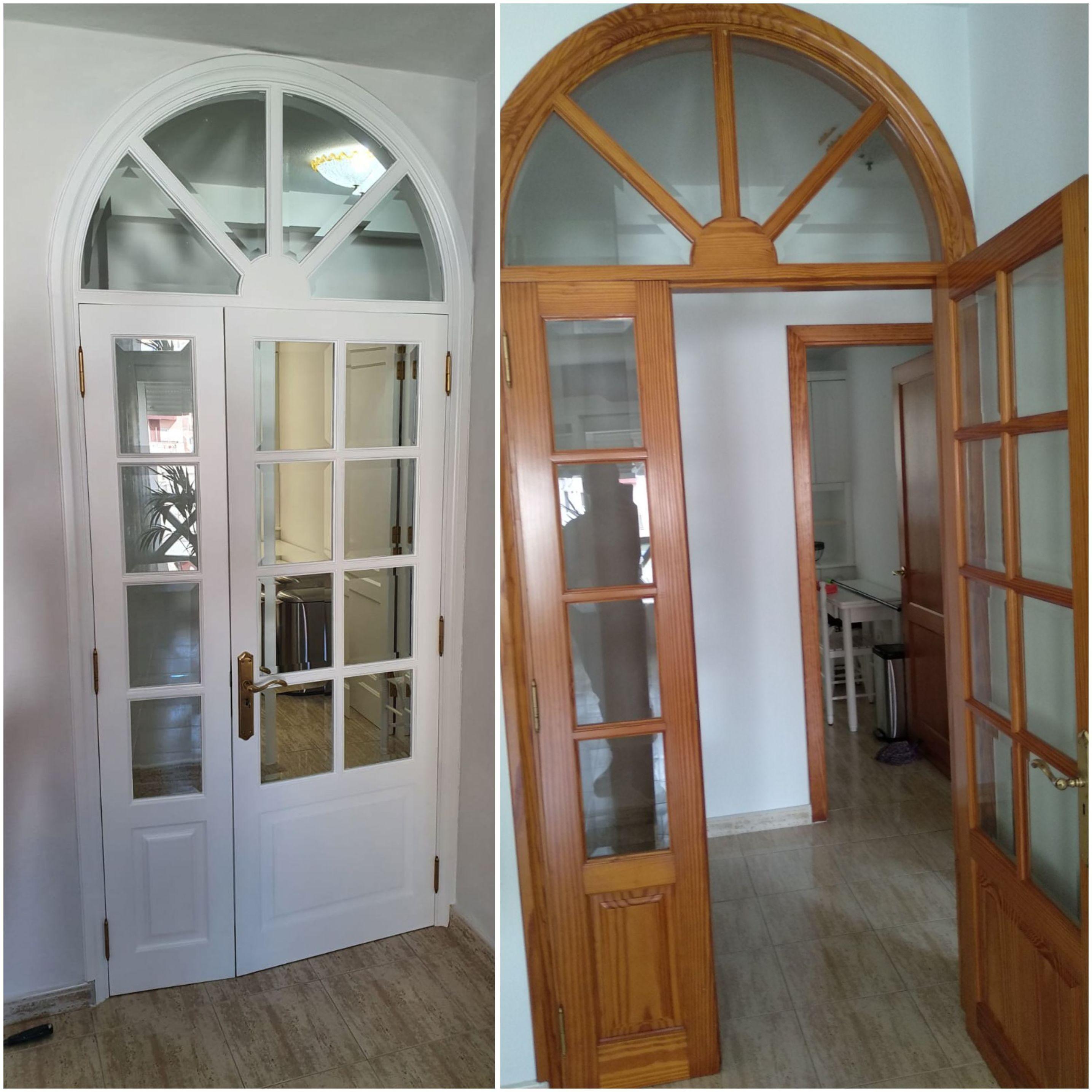 Puerta acristalada lacada en color blanco