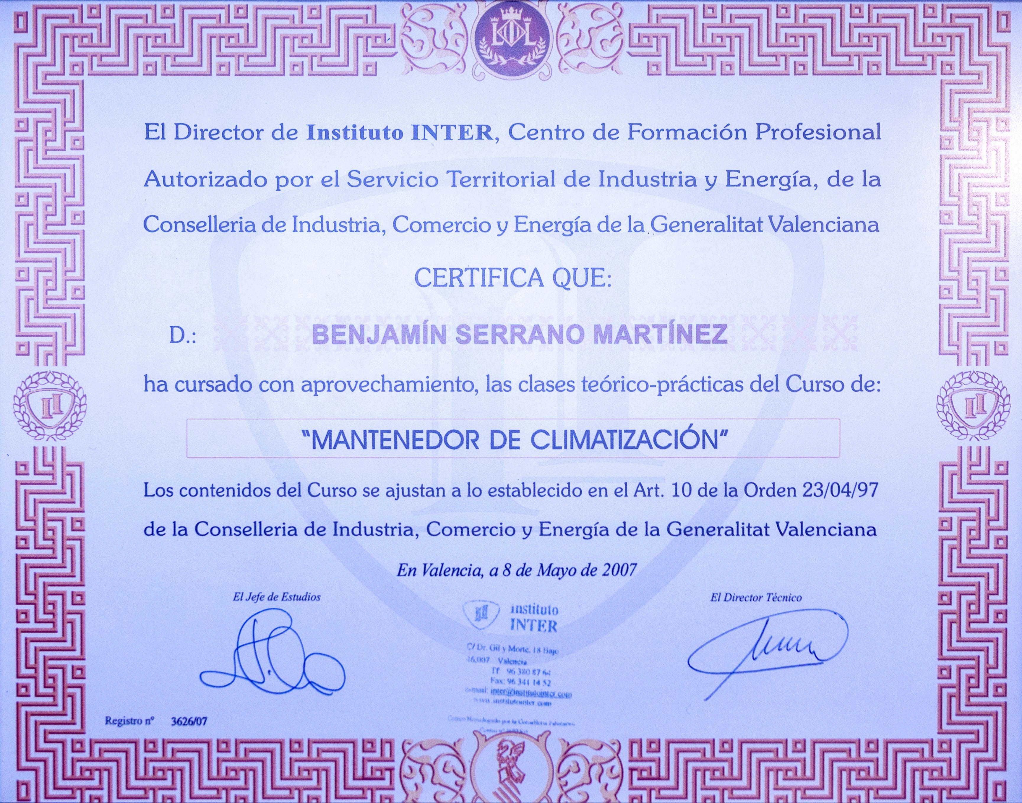 Certificado de mantenedor