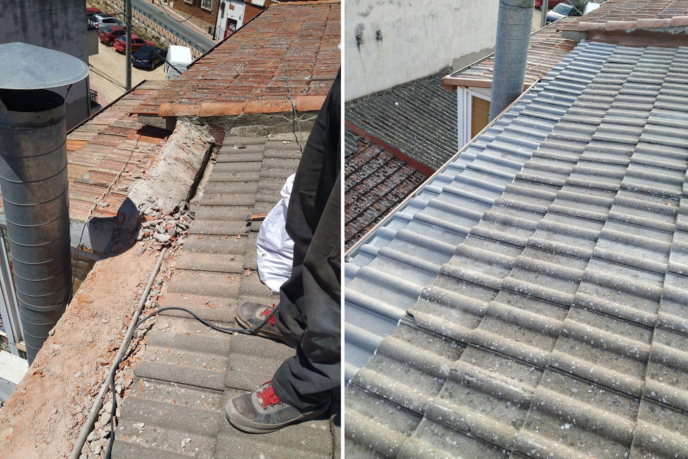Reparación tejado sacar agua del canalón interior al exterior antes y después del trabajo