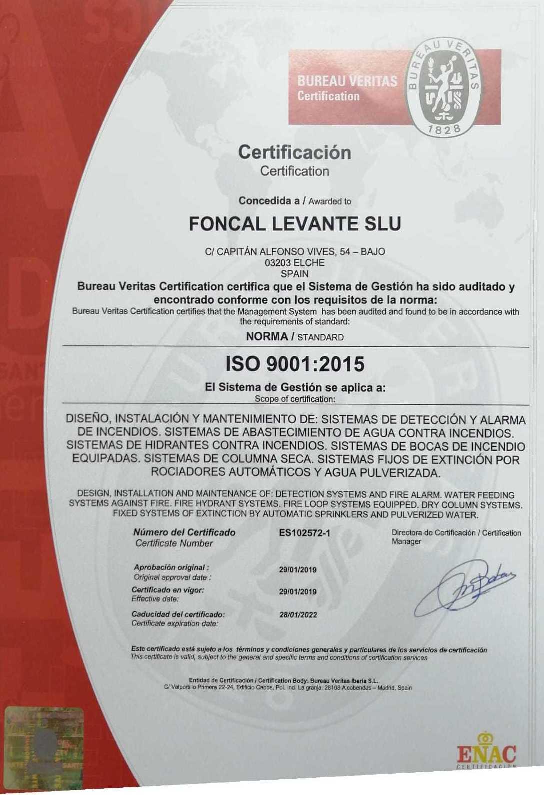 Certificado de calidad 9001:2015