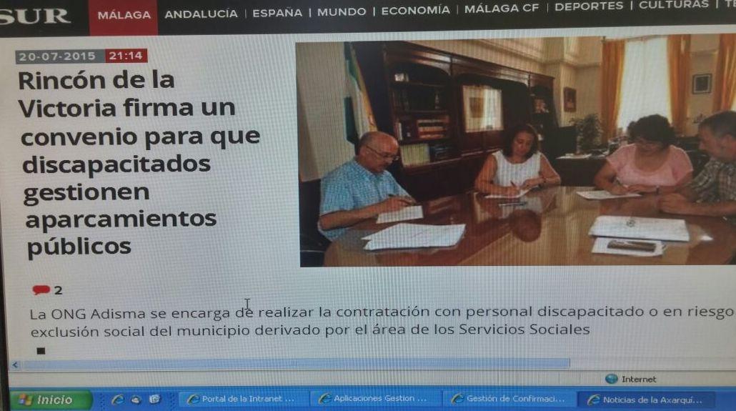 Renovación del convenio con el Ayuntamiento del Rincón de la Victoria, Alcaldesa Dª Encarnación Anaya