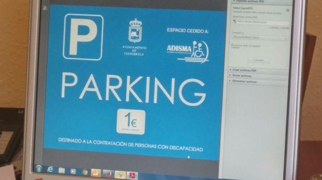 Cartel del  parking, en la zona de Fuengirola