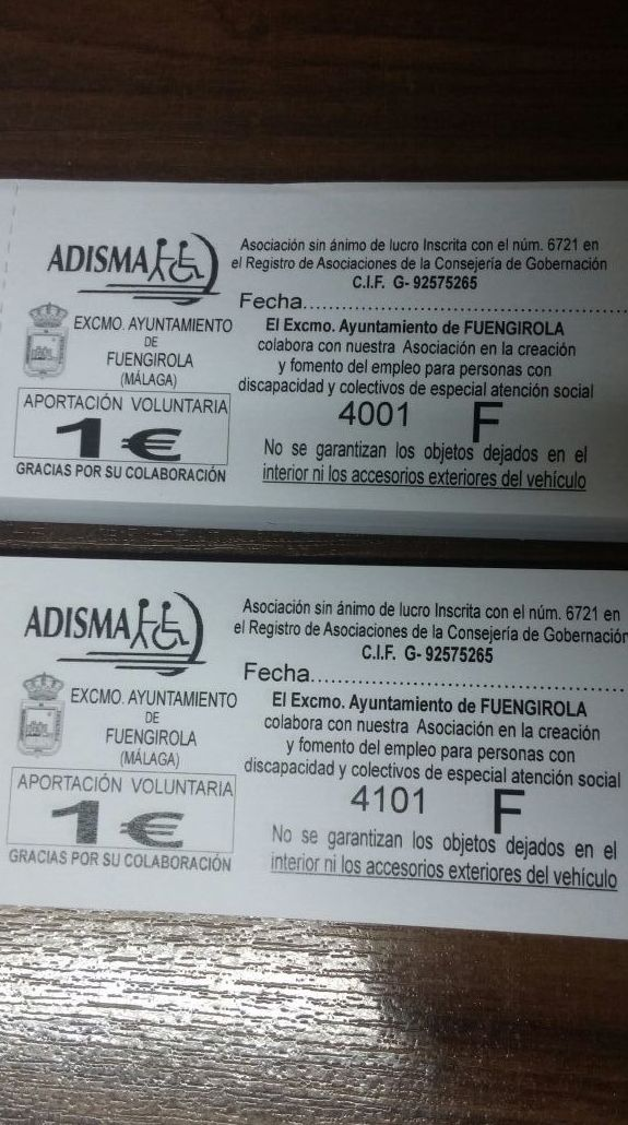 Modelo de tickets de Fuengirola