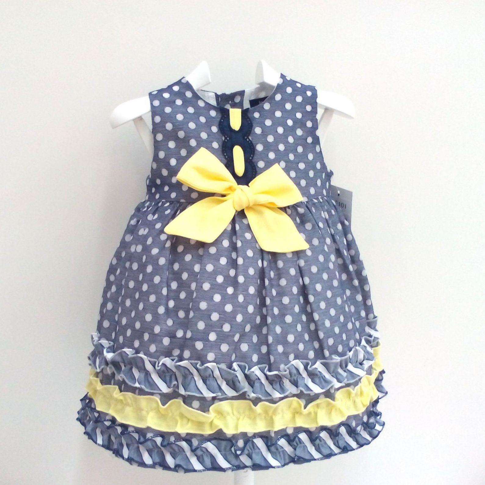 Vestido para niña marino con topos de Basmarti